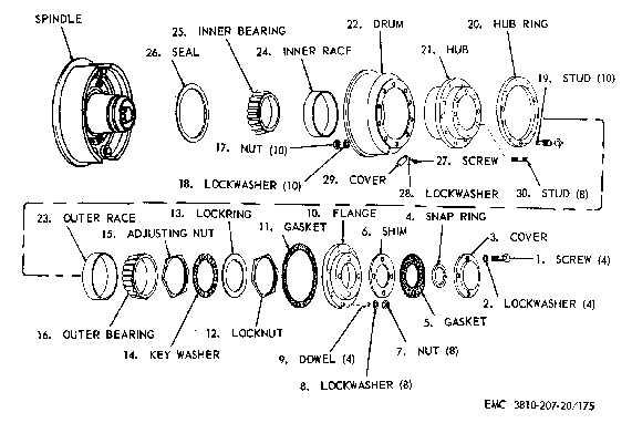 rear wheel bearings  drum  hub  and axle shaft